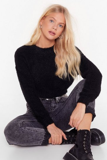 Black Keep Knit Going Cropped Sweater