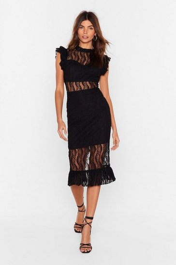 Womens Black Heartache Tonight Lace Dress
