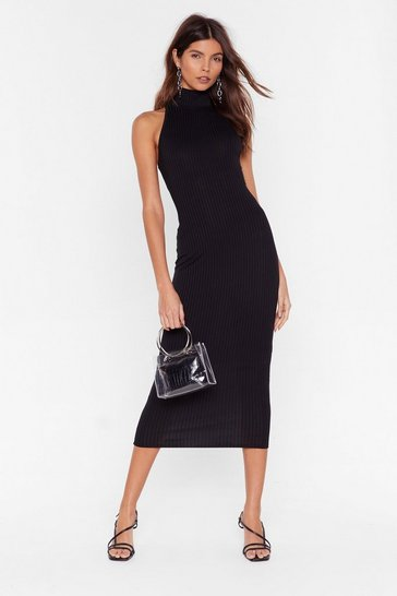 Black Mock Neckline and Bodycon Midi Dress