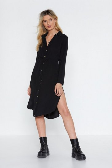 Womens Black Midi Horn Button Shirt Dress