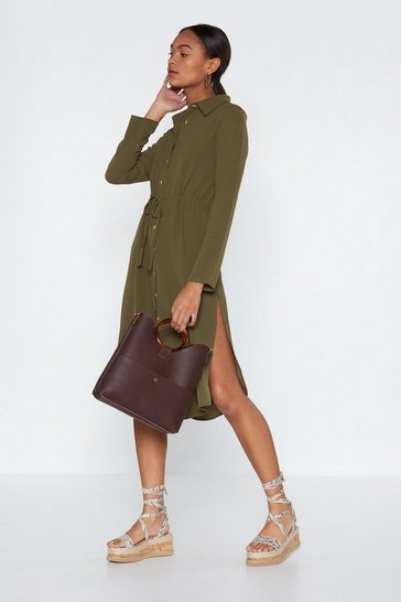 Womens Khaki Midi Horn Button Shirt Dress