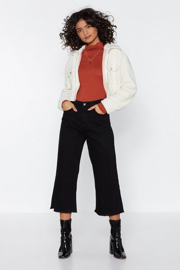 Black Short Stop Wide-Leg Jeans