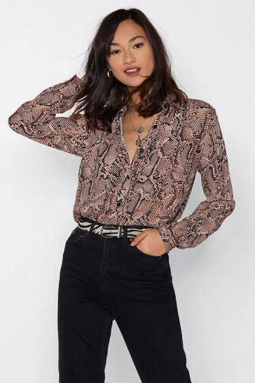 Womens Nude Have Your Snake Relaxed Shirt