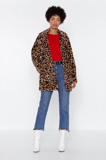 Womens Brown On the Spot Faux Fur Leopard Jacket
