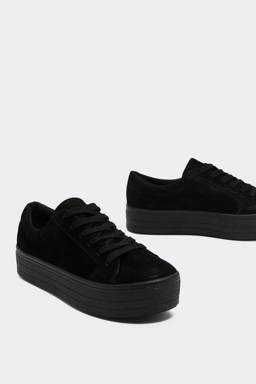 Black On Top Platform Faux Suede Trainers