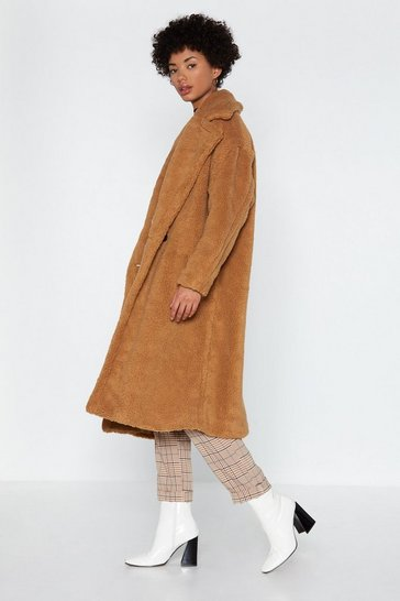 Womens Camel Warm Love Faux Fur Coat