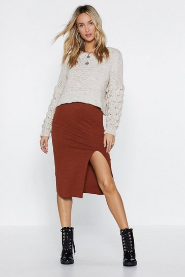Womens Brown Tight Future Ribbed Skirt