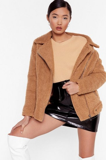 Womens Brown Teddy Oh Baby Faux Fur Coat