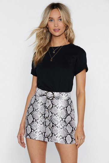 Grey Snake Print Faux Leather Mini Skirt with Buckle
