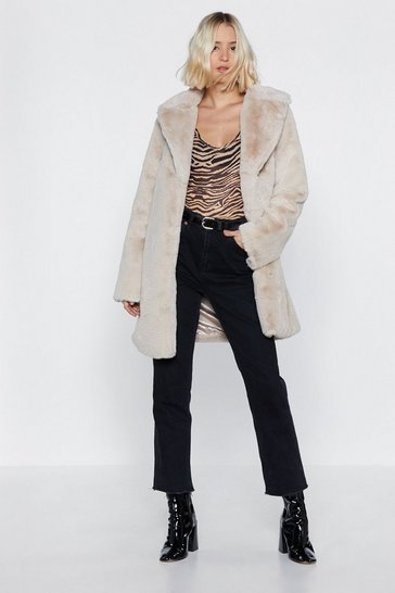 At a Loss Fur Words Faux Fur Coat, Beige, FEMMES