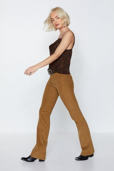 Womens Camel Magic Touch Corduroy Pants