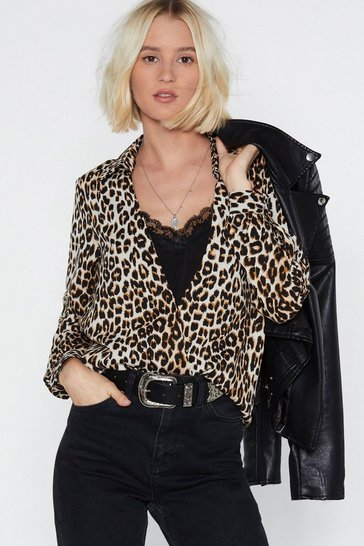 Womens Brown Give Me a Meow-ment Leopard Blouse