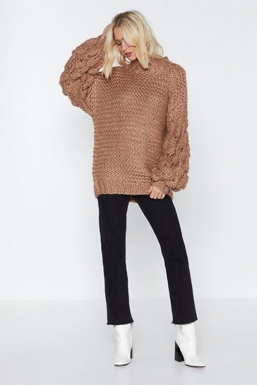 Womens Taupe You're Gonna Be a Big Knit Oversized Sweater