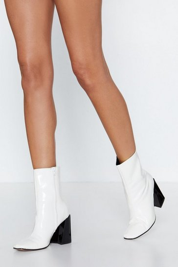 Womens White Hey Jude Patent Bootie
