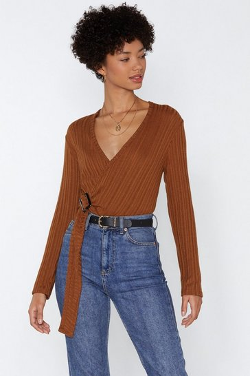 Womens Tan Power Wraps Knitted Top