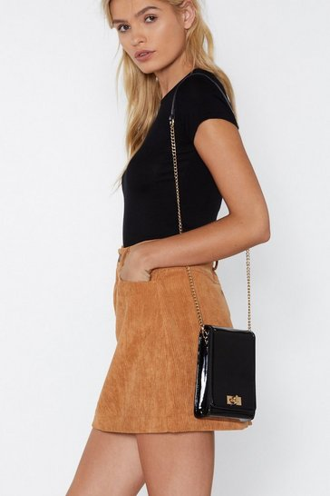 Womens Black WANT On Your Shoulders Patent Crossbody Bag