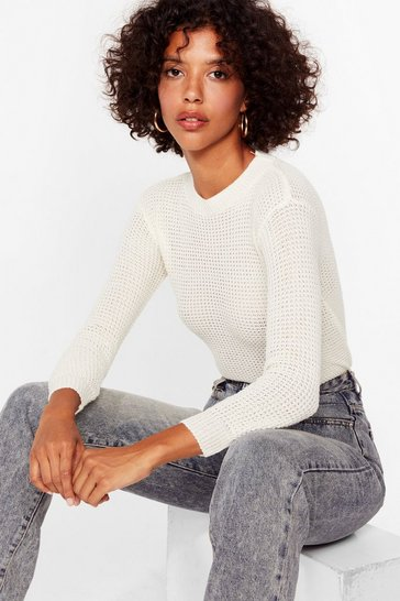 Cream Crew Neckline Fisherman Sweater