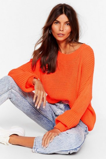 Womens Neon-orange Ease the Day Ribbed Sweater