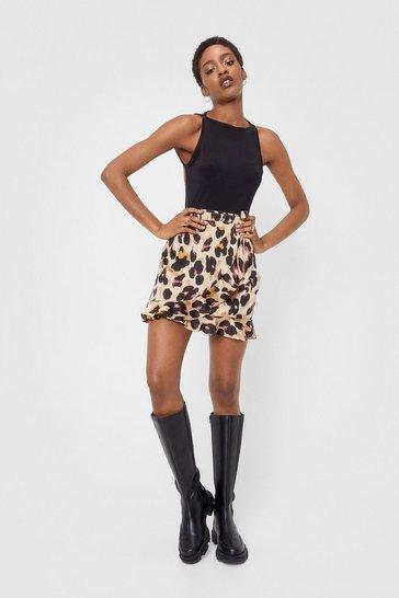 Brown So Fierce Leopard Wrap Skirt