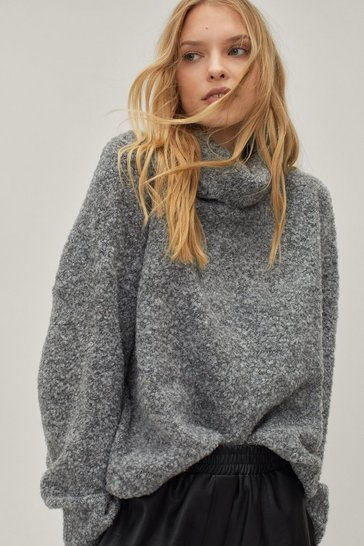 Grey Oversized Fluffy Knit Turtleneck Sweater