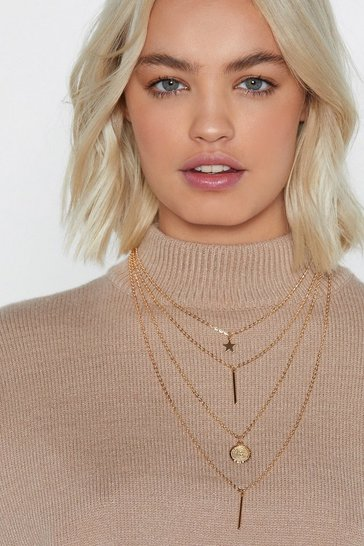 Womens Gold Pull Back the Layers Charm Necklace