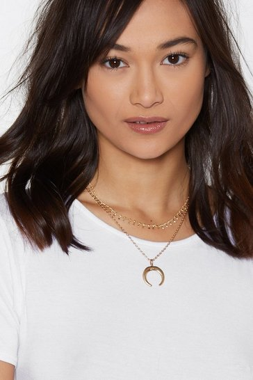Womens Gold Take the Bead Crescent Moon Necklace
