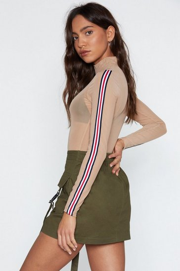 Womens Nude Striped and Ready Mesh Bodysuit
