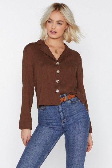 Womens Chocolate Shirt Feelings Linen Shirt