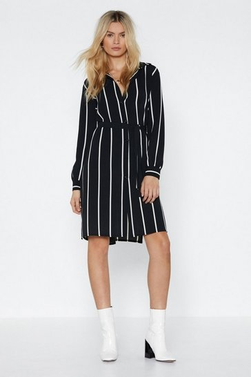 Womens Black Stripe Down to It Shirt Dress
