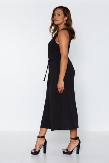 Womens Black Play It Cool Culotte Jumpsuit