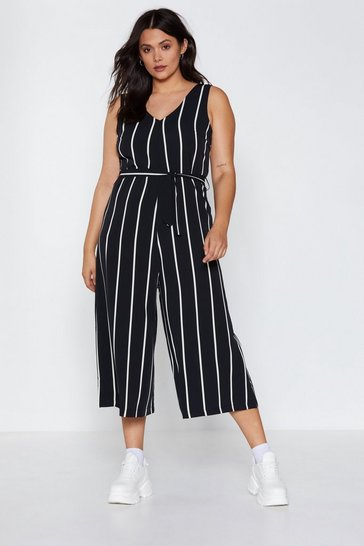 Womens Black Stripe Down to It Wide-Leg Jumpsuit