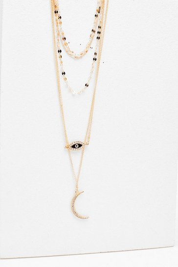 Gold Evil Eye Layered Necklace