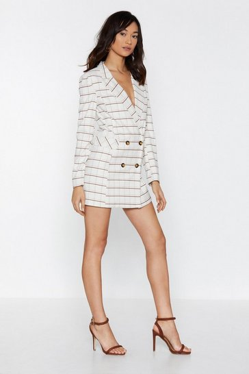 Womens Cream Check Her Go Blazer Dress