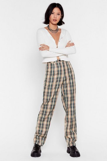 Beige High-Waisted Pants with Check Print