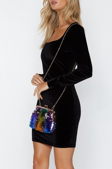 Blue WANT Life of the Party Sequin Crossbody Bag