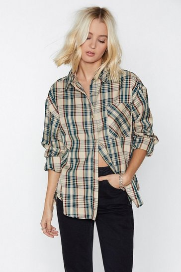 Womens Beige You're in My Plaid Books Relaxed Shirt