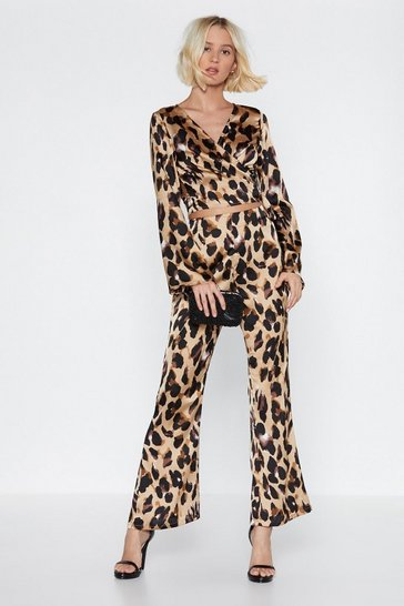 Cream So Fierce Leopard Top and Trousers Set