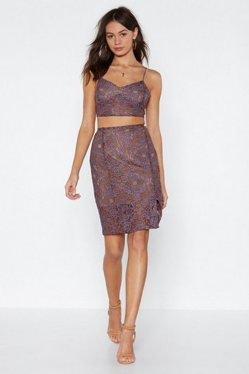 Womens Lilac Come and Lace Me High-Waisted Skirt