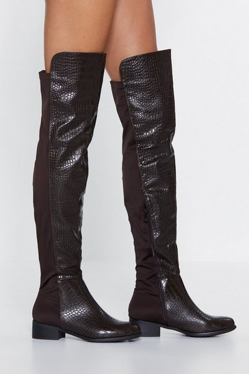 Scale It Back Over-the-Knee Boot, Brown, FEMMES