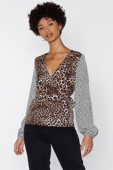 White Hunt High and Low Leopard Top