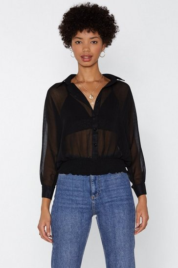 Womens Black See to It Mesh Top