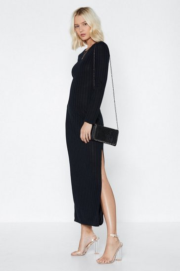 Womens Black Long Live Ribbed Maxi Dress