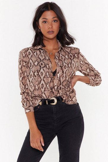 Womens Taupe That Snakes Sense Relaxed Shirt