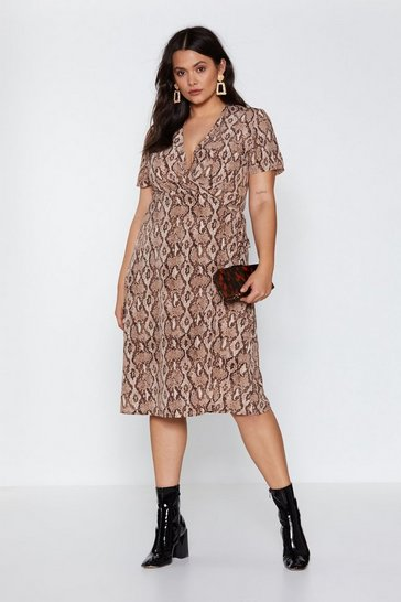 Taupe That Snakes Sense Midi Dress