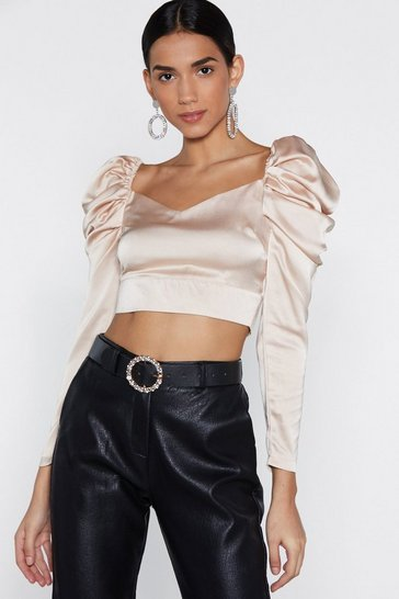 Womens Cream Soft Talk Satin Crop Top