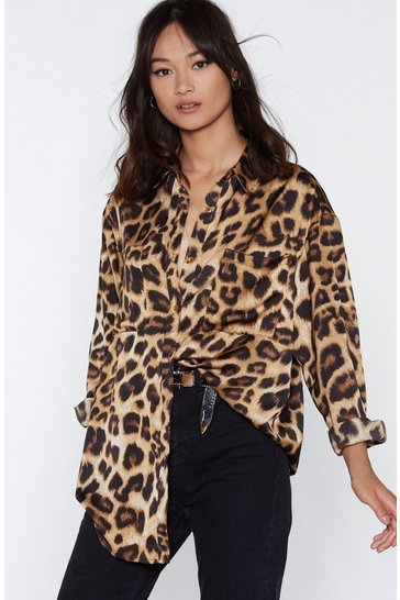 Womens Brown If Looks Could Kill Leopard Shirt
