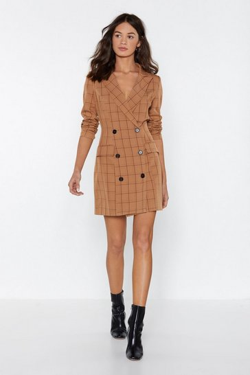 Womens Tobacco Check Her Go Blazer Dress