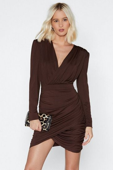 Womens Brown None of Your Business Ruched Dress
