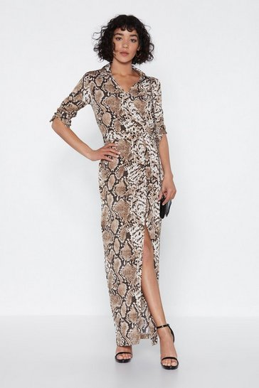 Womens Brown Hiss is How We Do It Snake Dress