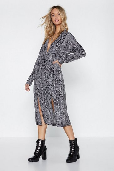 Womens Grey Shed Your Past Snake Dress